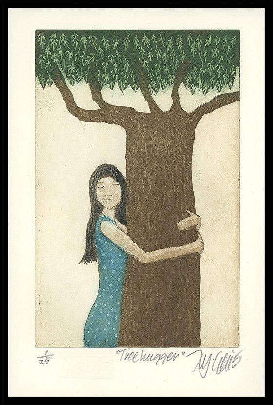 Treehugger, aquatint etching