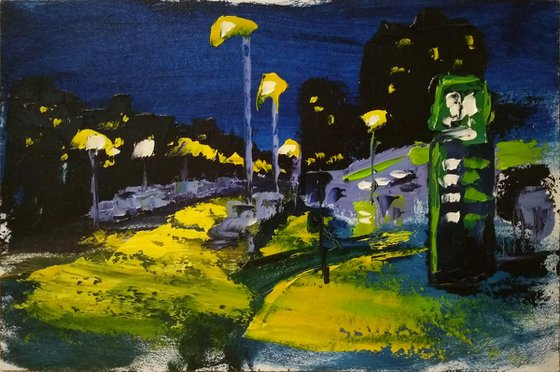 The gas station at the night. Plein Air Painting