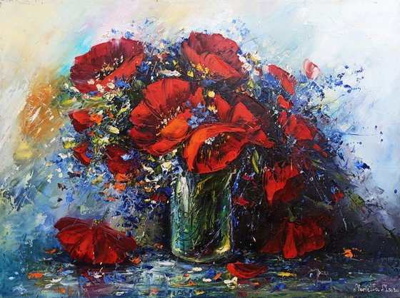 Red poppies in the vase 60x80cm, oil painting, palette knife, ready to hang, colorful flowers, floral art