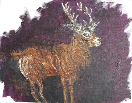 Stag (Oct 2019) - Palette knife animal art - impressionistic painting - wildlife art