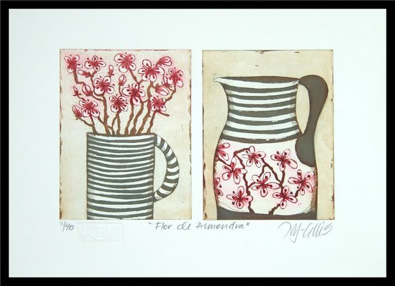 Almond flowers, etchings with aquatint