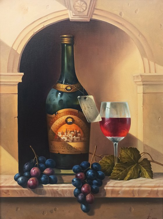 Still life with cup of cognac  (50x70cm, oil painting, ready to hang)