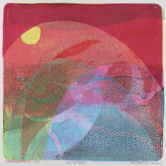 Misted - Unmounted Signed Monotype