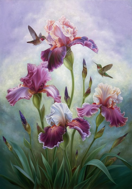 """""""Summer song"""",100x70cm, oil floral painting with birds, irises flowers art"""