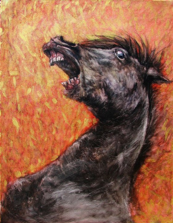 Painting from the series called HUMALS - horsefighting - varnished