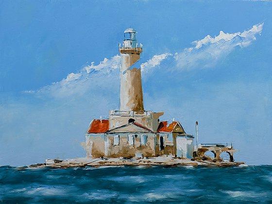 Light house Porer in Adriatic sea. Croatian coast