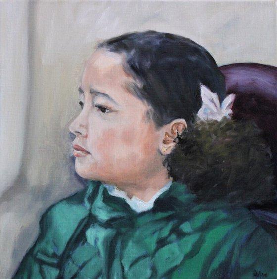 Portrait - Her emerald green jacket
