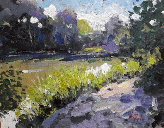 Original painting. Bright sunny landscape. Quiet river