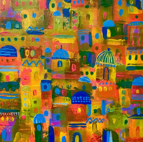 Domed City, acrylic abstract canvas painting