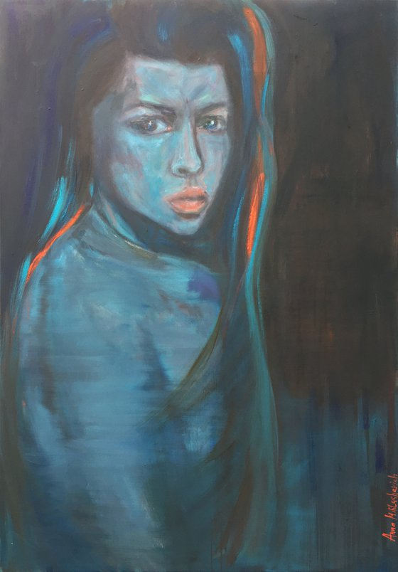 PEACEFUL WARRIOR - contemporary woman portrait, expressionist empowering modern wall art, female face extra large figure oil painting