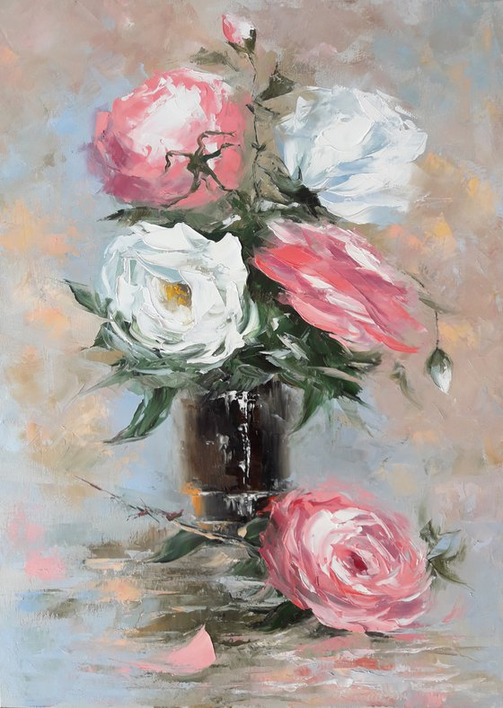 Still life roses (50x70cm, oil painting, ready to hang)