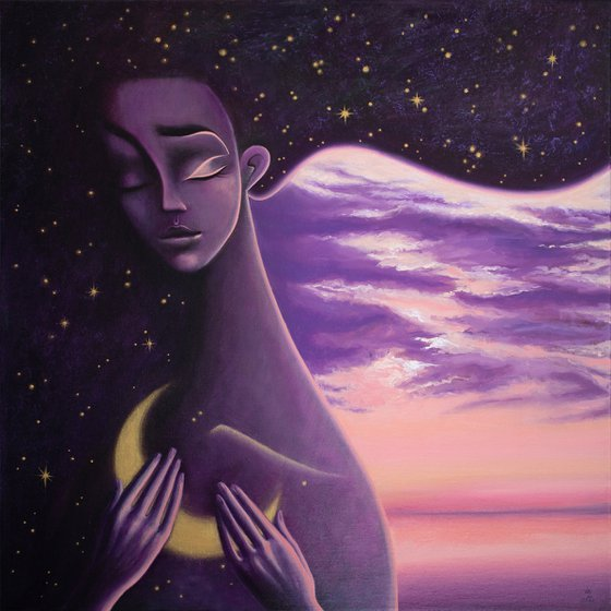 A ship of light in the sea of night   50*50 cm   Girl with Moon