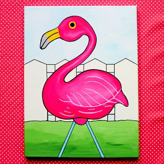 Pink Flamingo Pop Art Painting on Canvas