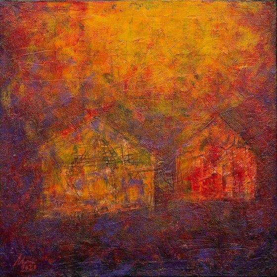 Village at dawn - Abstract painting