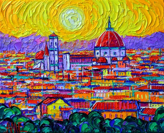 FLORENCE SUNSET OVER DUOMO FROM PIAZZALE MICHELANGELO abstract cityscape textural impasto palette knife oil painting Ana Maria Edulescu