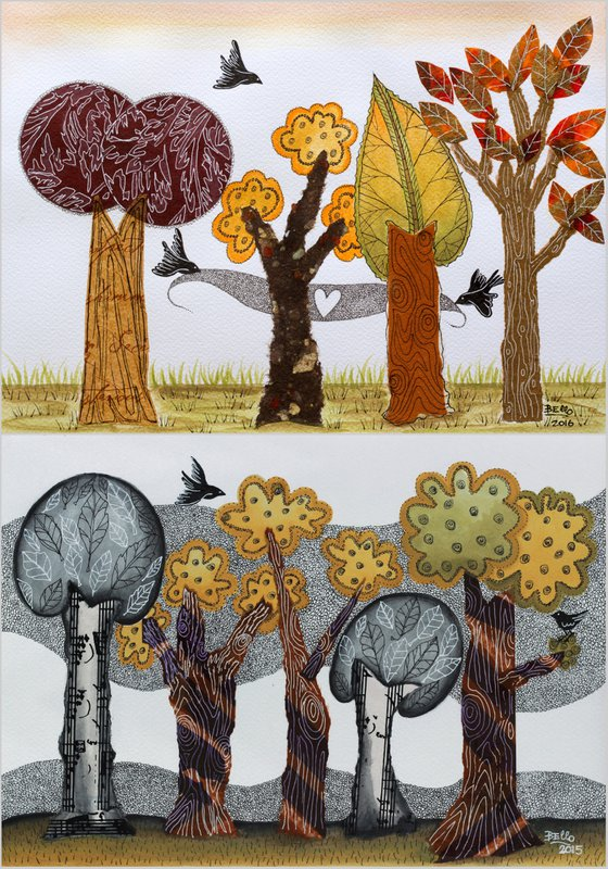 """Pair of Ilustrations/Collage """"Autumnal Trees"""""""