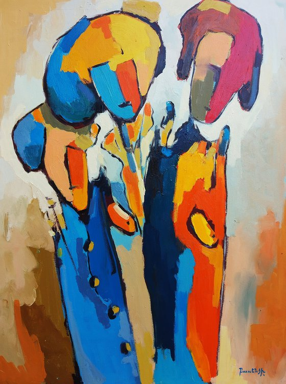 Abstract - Talking (60x80cm, oil painting, ready to hang)