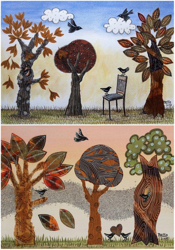 "Pair of illustrations/collage:""Magical Autumn"""