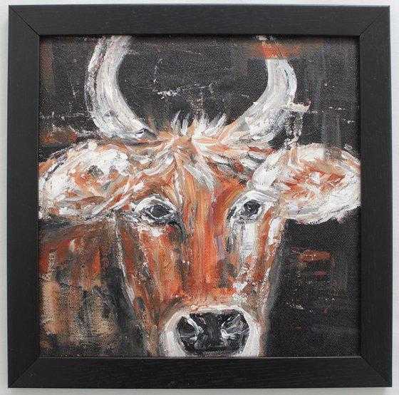 Cow - Farm Animal - Acrylic painting-framed-ready to hang.