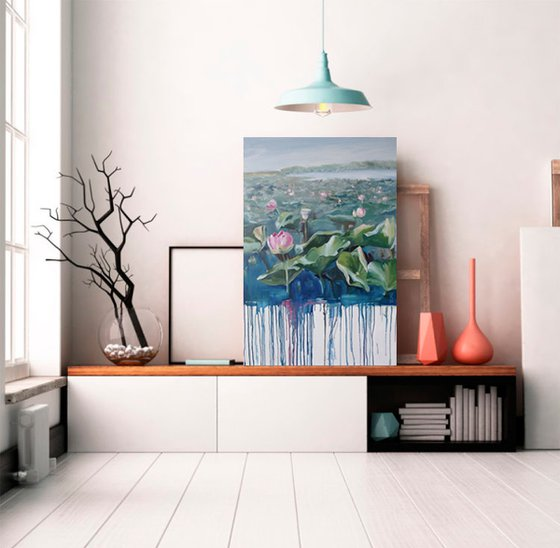 Following the Sun - painting with lotuses, water landscape.