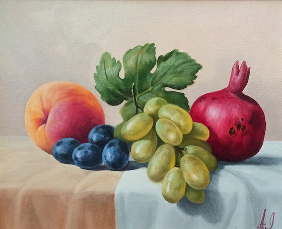 Still life with colorful fruits (24x30cm, oil painting, ready to hang)