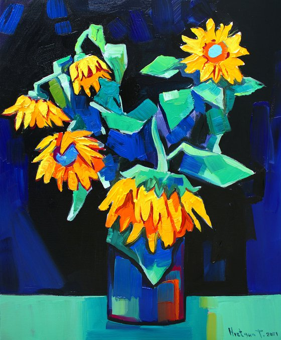 Sunflowers-2 (45x55cm, oil painting, ready to hang)