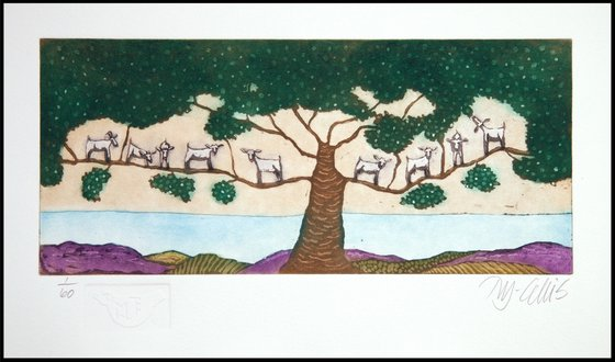 Goats in a tree, aquatint etching