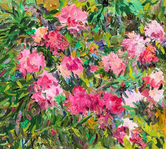 PEONIES - Floral art, landscape, original painting, oil on canvas, flowers in the garden, nature,  peony, pink flowers, bloom, interior art home decor, gift