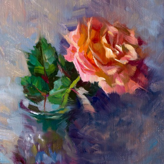 'Pink Rose' - original oil painting, alla prima oil painting, one of a kind
