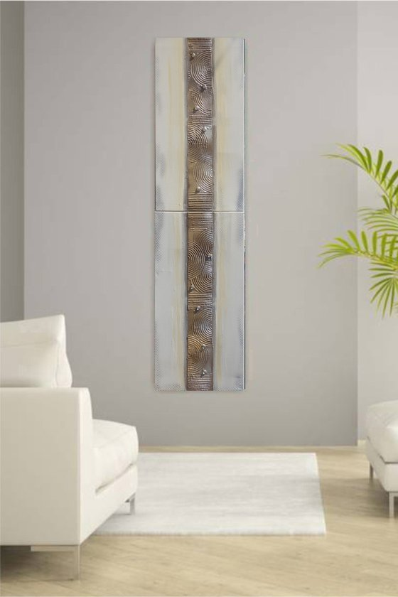 long painting cream silver abstract textured stripe 50x200x2 cm A214 Vertical  decor original abstract art Large paintings stretched canvas acrylic art industrial metallic textured wall art