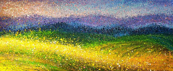 """Panoramic summer landscape Sunny field ROLLED 35"""" x 77""""/ 80 x 195 cm."""