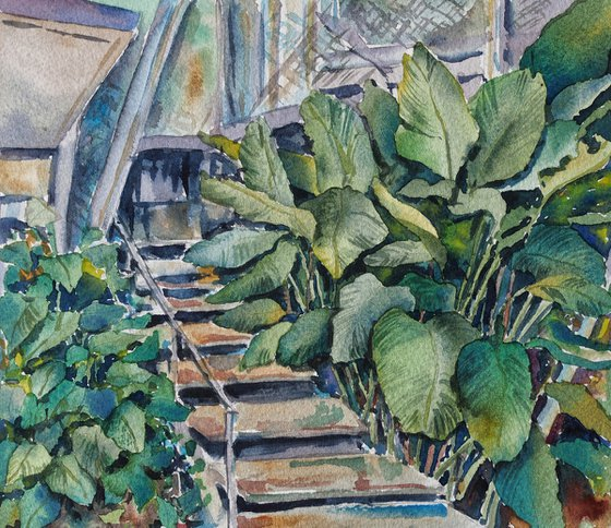 Urban jungle - original watercolor from travel to Malaysia