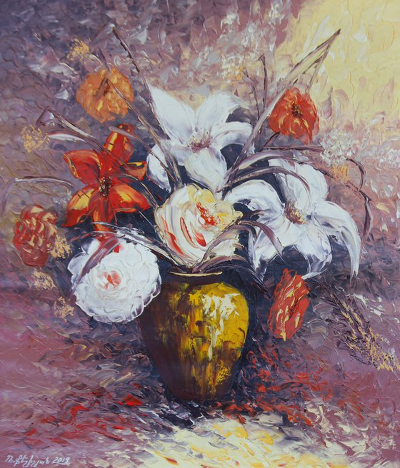 Lilies 60x70cm, oil painting, ready to hang