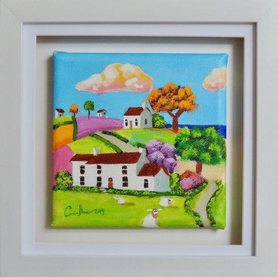 small folk art sheep canvas painting
