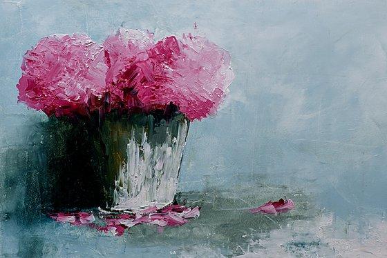 Still life painting. Flowersbin vase. Gift for her