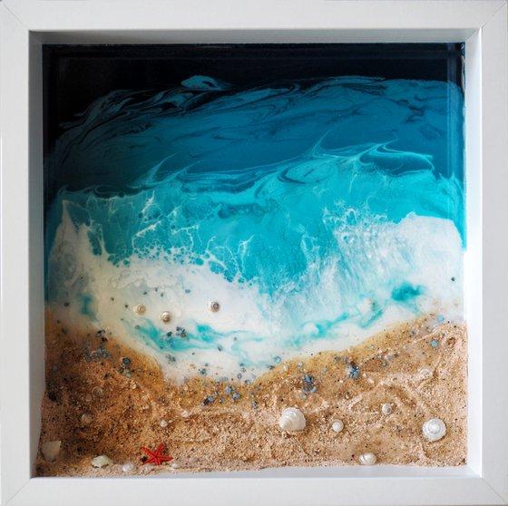 My little private beach - original seascape 3d artwork, framed, ready to hang