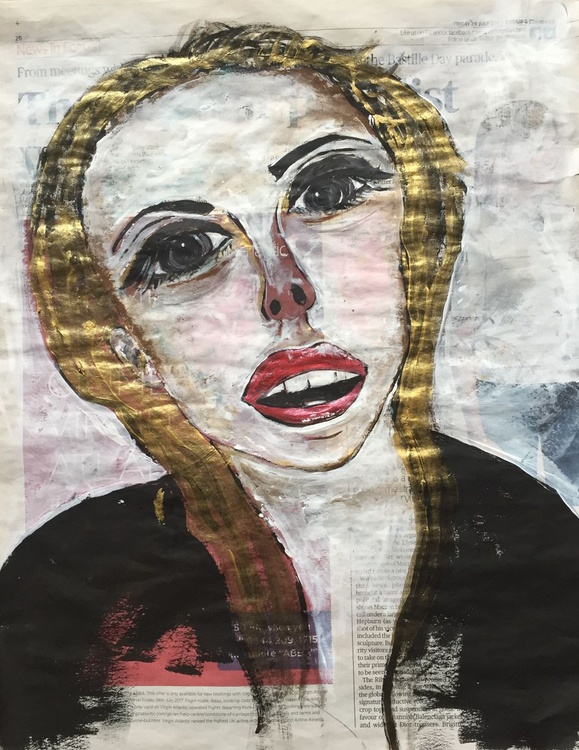 The Face Acrylic On Newspaper Face Art Woman Por Artfinder