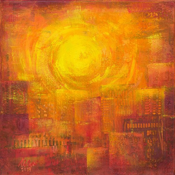 Sunrise in the city - abstract painting