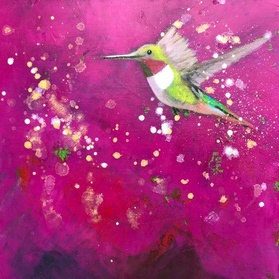Hummingbird ~ on Magenta