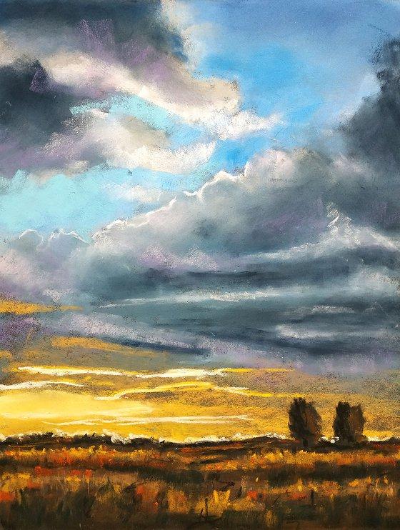 Sunset on the fields
