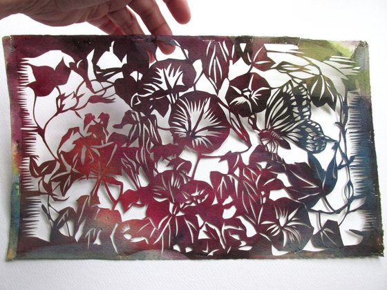 morning glory with butterfly watercolor paper cut