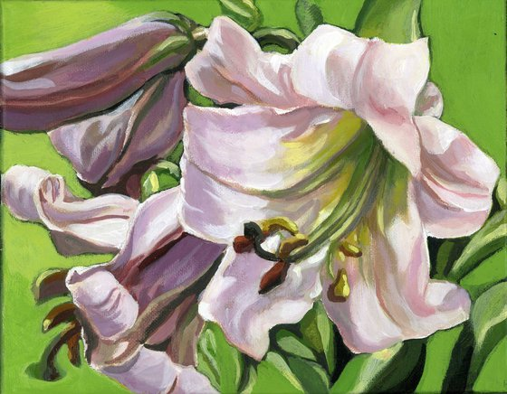 pink lily with green acrylic painting