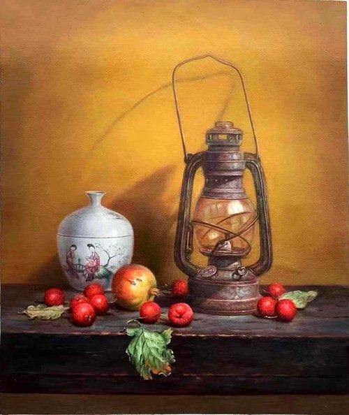Still life:kerosene burner and fruits