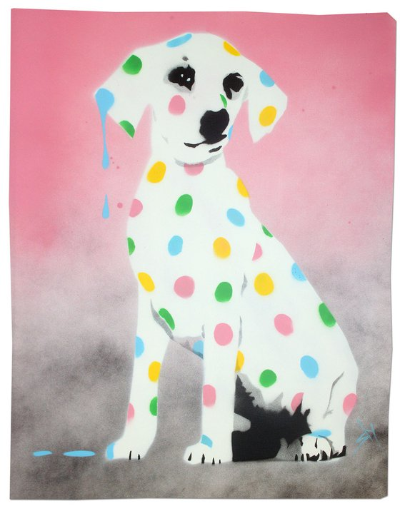 Damien's dotty, spotty, puppy dawg (pink on gorgeous watercolour paper).