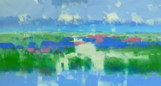 Summer Breeze, Original oil painting, Handmade artwork, One of a kind