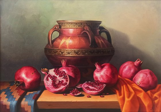 Still life with pomegranates(50x70cm, oil painting, ready to hang)