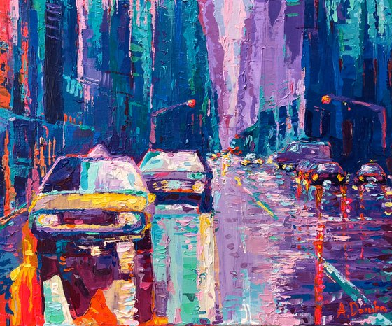 Streets of New York #2 -  original palette knife city landscape