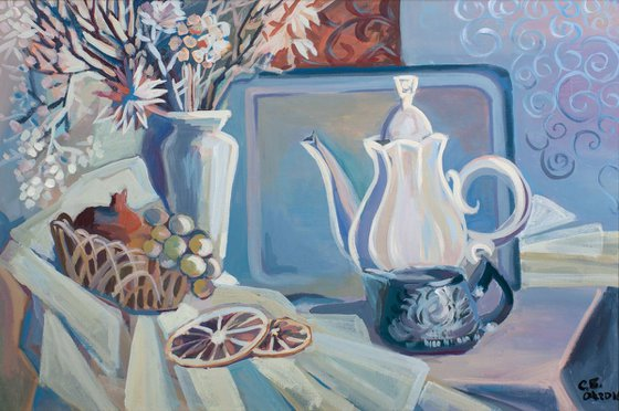 Blue still life with white teapot