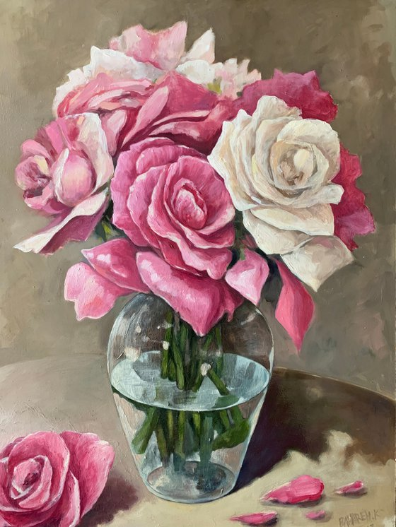 Pink roses in a pot
