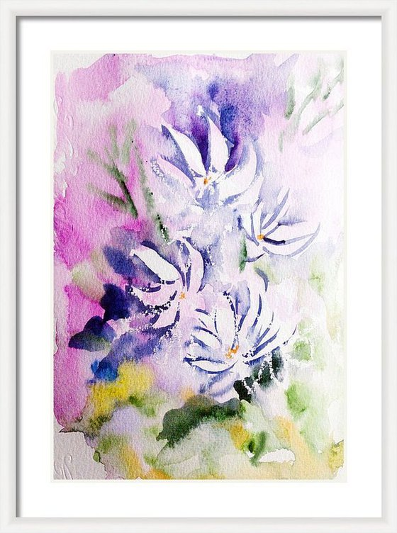 Spring flowers Jasmines in my dreams -Floral painting on paper 8.3 x 5.8 (A5)